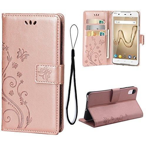 Teebo Hülle für WIKO Robby 2 Schutzhülle aus PU Leder Handyhülle mit geprägtem Schmetterling-Muster Kartenfach und Magnetverschluss Rose Gold