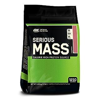 Optimum Nutrition Serious Mass Weight Gainer Whey Eiweißpulver (mit Vitaminen, Kreatin und Glutamin, Protein Shake von ON), Strawberry, 16 Portionen, 5.45kg