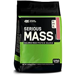 Optimum Nutrition Serious Mass Weight Gainer (mit Kohlenhydrate, Whey Eiweißmischung Pulver, Vitaminen, Kreatin und Glutamin, Protein Shake von ON) Strawberry, 16 Portionen, 5,45kg
