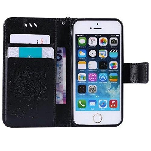 iPhone 5C Coque, 5C Coque, Lifeturt [ Blanc ] Coque Dragonne Portefeuille PU Cuir Etui en Cuir Folio Housse, Leather Case Wallet Flip Protective Cover Protector, Etui de Protection PU Cuir Portefeuill E02-Noir