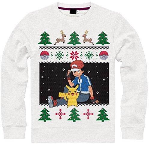 Ash Kids Shirt (Pokemon Pullover -L- Christmas Ash & Pikachu, weis)