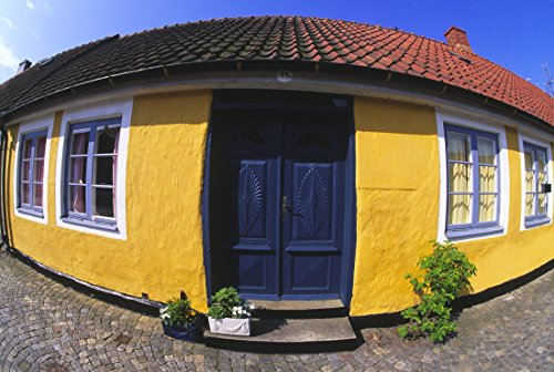 reprint-of-fish-eye-view-of-the-facade-of-a-yellow-house-with-potted-plants-kept-on-the-threshold