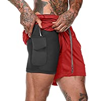 Festnight mannen 2-in-1 workout loopshorts sport hip fitness lichte fitnessstudio yoga training sport wear stropdasriem taille warme broek lose-fit performance shorts
