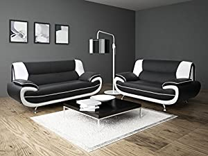 3+2 Seater Passero Black and White Faux Leather Sofa Suite Settee Couch
