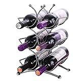 Estante para vinos (H34xW25xD14,5cm) - Soporta hasta 6 botellas de vino de tamaño estándar - Soporte para botellas de vino de acero inoxidable súper brillante - Estante para vinos independiente
