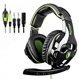 [2018 Latest Edition Xbox one Gaming Headset] SADES SA810 Over Ear Stereo Gaming Headset with Mic Bass Volume Control for Xbox One / PS4 / PC / Laptop (Green)