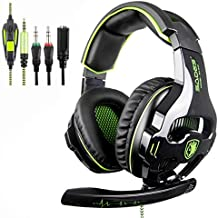 SADES SA810 Stereo Gaming Headset for Xbox One, PC, PS4 Over-Ear Headphones with Noise Canceling Mic, Soft Ear Cushion, 3.5mm Jack Cable for Mac Laptop Tablet Smartphone