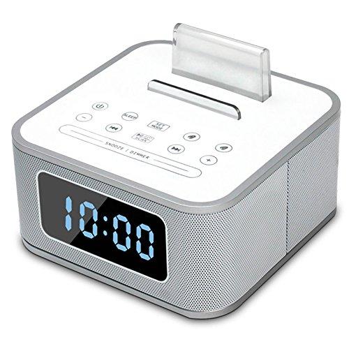 Vinteen Radio FM Llamadas manos libres Altavoces Bluetooth Bass Gun Radio Multifunción hogar Pantalla grande Despertador Sonido Horno Decoración Altavoz (Color : White)