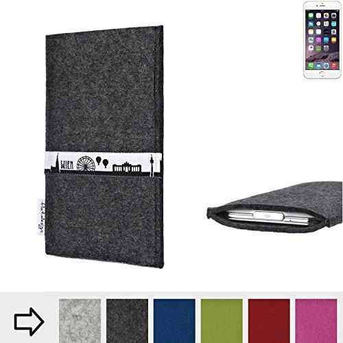 flat.design Filztasche SKYLINE mit Webband Wien für Apple iPhone 6s - Maßanfertigung der Filz schutzhülle aus 100% Wollfilz (anthrazit) - Case Hülle im Slim fit Design für Apple iPhone 6s anthrazit