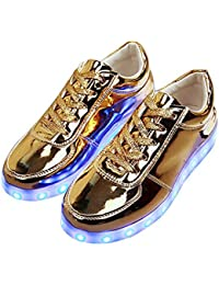 0476f8510d02 Lonshell Mens Womens Couples Shoes 7 Colours Light up LED Trainers USB  Charging Night Light Luminous Sneakers Lace up Casual Sport…