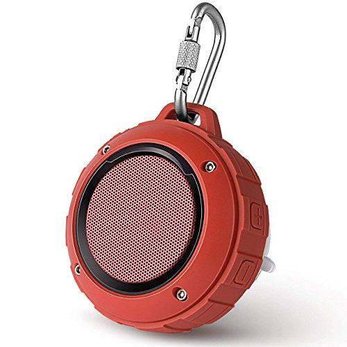 Lenrue Bluetooth Lautsprecher Wireless Wasserdicht Tragbare Outdoor Dusch lautsprecher Wiederaufladbare Stereo mit Haken, Eingebautes Mikrofon für IPhone/IPad / Andriod/Samsung / Tablet/Echo dot(Rot)