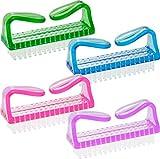 Spazzola per unghie con setole bianche, Rosa + Viola + Blu + Verde nel Set di 4–Spazzola–spazzola per lavaggio a mano–Spazzola–spazzola per lavaggio