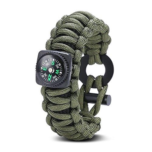 Wuzmei Paracord Bracelet de survie, kit de survie d'urgence avec boussole, œil couteau, Fire Starter, outil de pêche pour le camping, la randonnée, la chasse, la Voyage