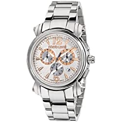 Roberto Cavalli R7273672145 - Reloj cronógrafo unisex de cuarzo con correa de acero inoxidable plateada