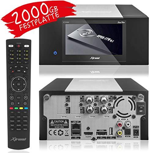 XTREND ET 8500 HD Sat-Receiver mit Aufnahmefunktion und Festplatte 2000GB HDD PVR - LCD Display, 2 x DVB-S2 Sat Tuner mit XAiOX® HDMI Kabel