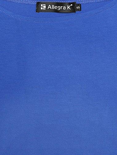 Allegra K Allegra K Femmes Manches courtes Slim Fit Épaule Haut Royal Blue