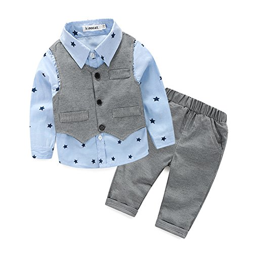 (Kinder Baby Kleinkind Jungen Kleider Coat Kleidung Gentleman Baumwolle mit Ärmeln Herbst Kleidung des Babys Taufe Hochzeit Weihnachten Sakkos Anzüge kariertes Hemd spielanzug(0-24M), A Blau, 80(6-12M))