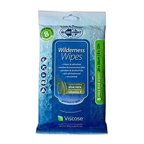 Sea to Summit Wilderness Wipes Extra Large Pk of 8 Camping Accessory