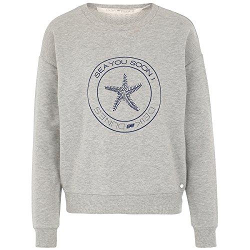 Deik&Dunes Bente - Sweater grau meliert mit Print See You Soon!, Größe M