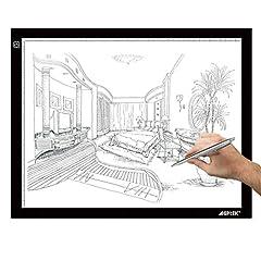 Idea Regalo - AGPTEK A3 Tavoletta Luminosa, Ultrasottile Lavagna Luminosa con Luminosità Regolabile, A3 Tavolette da Disegno, LED Tracing Board per Artisti, Ricarica con USB, 47 x 37 cm