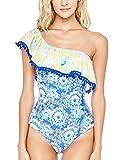 Summer Mae Damen Off-Shoulder Badeanzug Gemustert Badeanzug mit Volant Badekleid Druck