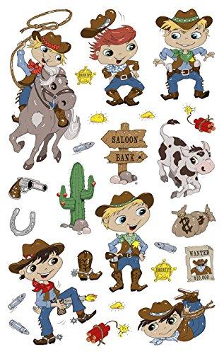 3 Papier Sticker, Cowboy, 50 Aufkleber ()