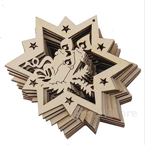 Doyeemei Weihnachtsdekoration aus Holz, Ornament-Verzierungen, 10pcs E