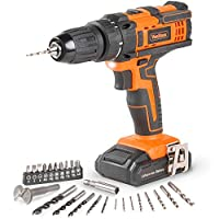 VonHaus Cordless 18V Drill Driver with 1500mAh Li-ion Battery, Charger, 26pc Drill Bit Set - 35Nm Torque with LED Work Light Two Speed Transmission & Forward/Reverse Functionality