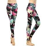 SOUTEAM Leggings de yoga pour femmes avec des pantalons de fitness légers de poche, Aquarelle Noire, Grande