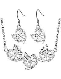 7edcd6ebb121 Purmy Mujer Conjunto de Joyas Plateado Collar Aretes Set Special  Corazón-Forma Modelo Diseño Dulce