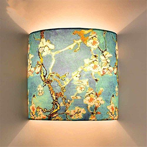 WEXLX Chiffon idyllique applique murale Wall Lamp pour escalier Salon adhérer allée22cm haute diamètre22cm