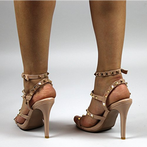 Damen Gladiator Eingesperrt Besetzt Offener Zeh Ausgeschnitten Stilett Nude Patent