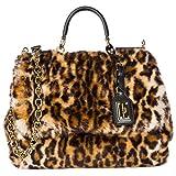 Dolce & Gabbana Leder Handtasche Damen Tasche Bag sicily Leo Braun