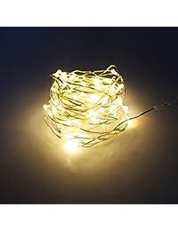 Guirnalda de luces de alambre de cobre a batería de 4 m, 40 ledes para exteriores, jardines, hogares, bailes, fiestas de Navidad Warm White