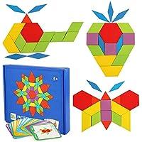 LEADSTAR Tangram Puzzle, Tangram Madera Shape Puzzle Set Rompecabezas Tangram de Madera Kids Educativos Juegos y Juguetes con 155 Piezas de Formas Geométricas y 24 Diseños