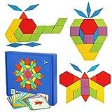 LEADSTAR Tangrams Puzzle di Legno Forme Geometriche per Bambini Giocattoli Set di Tangrams con 155 Pezzi di Forma Geometrica e 24 Schede di Progettazione