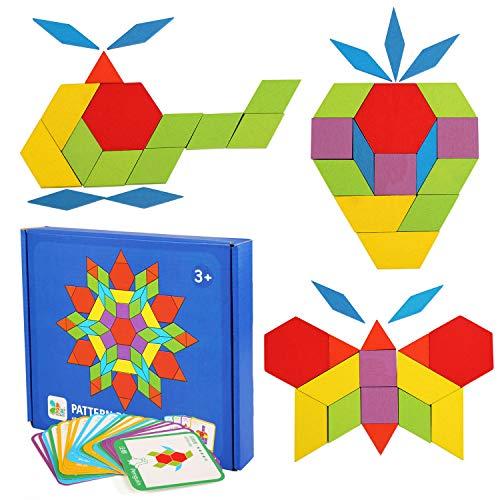 LEADSTAR Tangrams Enfant Blocs en Bois Puzzles 155 PCS Puzzles en Bois Blocs de Modèle en Bois...