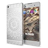 NALIA Coque Protection Compatible avec Sony Xperia XA, Motif Housse Silicone Premium Case Smart-Phone Back-Cover Ultra-Fine Souple Gel Slim Anti-Choc Bumper Mince Etui, Designs:Circle Flowers