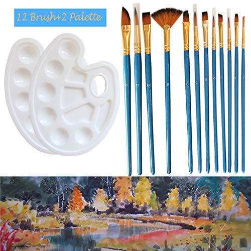 TianranRT Künstlerpinsel 12 Stück Nylonhaarpinsel-Set mit 2-teiliger Farbschale Pale