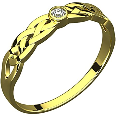 Anello in Argento Placcato Oro 14 carati, Pietra CZ, Nodo Celtico della Trinità