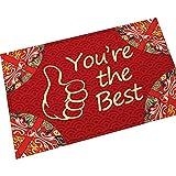 AMDXD Flanell Teppich Rot Englisches Worts You're best Design Teppiche für Wohnzimmer Küche Rot 60x40CM