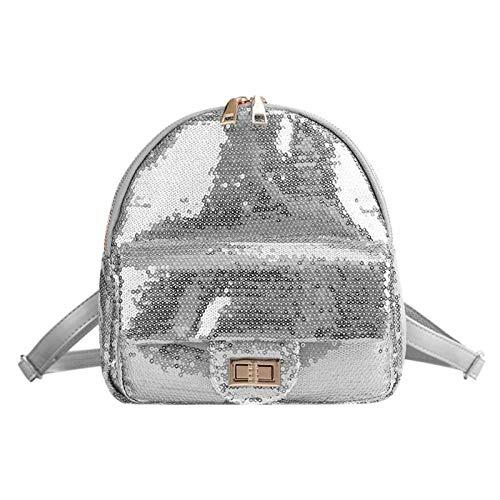 OneMoreT Mini-Rucksack mit glitzernden Pailletten für Damen, Teenager, Mädchen, Mochila, Feminina, süße Schulter, glänzend, für Frauen, Freizeitreisen, Schulranzen silber
