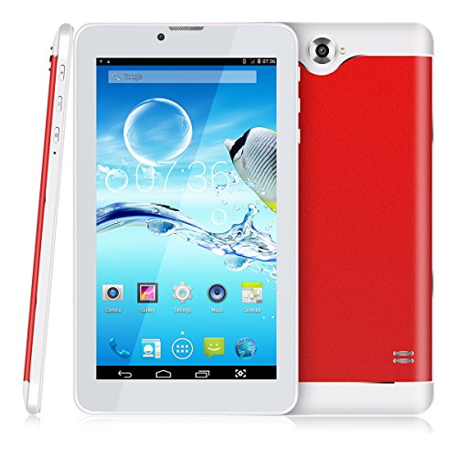 7 Zoll 3G Tablet PC,512 RAM+8G ROM,Dual-SIM,IPS HD Display 1024x600,Quad Core CPU,Android 4.4.2,WIFI WLAN Bluetooth,4 Farben zur Wahl Rot von QIMAOO (Gsm 7-zoll-tablet-telefon)