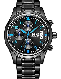 Bos hommes de sport montre à quartz Pointeur lumineux cadran noir chronographe bracelet en acier inoxydable (Blue)