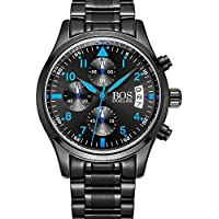 BOS Uomo Sport Orologio al Quarzo Nero Quadrante luminoso Pointer Cronografo w/braccialetto in acciaio inox 8012–Blu