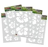 HIBISKUS / Schmetterling 40 Stück Set - Autoaufkleber Blumen Aufkleber Weiss