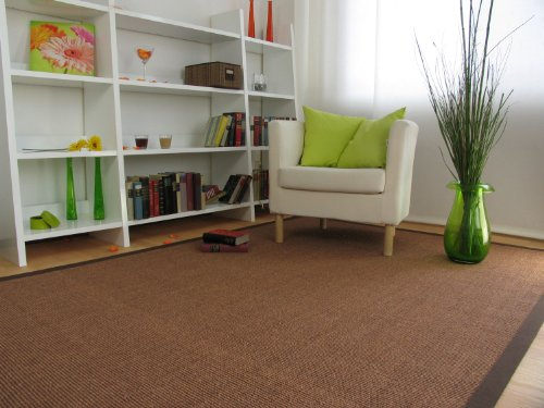 Astra Sisal Teppich Manaus mit Bordüre Farbe braun coffee 100% Sisal - 18 Größen, Größe: 250x250 cm