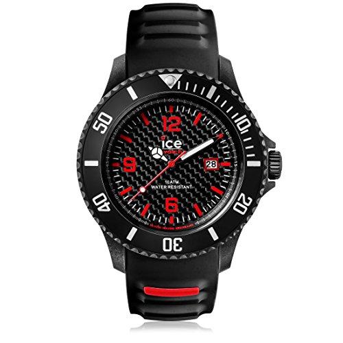 Ice-Watch - Ice Carbon Black White - Schwarze Herrenuhr mit Silikonarmband - 001312 (Large) -