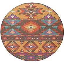 Patrón azteca crema cosas redondo Mandala tapiz, Hippie Hippy estilo, manta cama colcha, gitana colgar en la pared, indio Boho Gypsy algodón mantel toalla de playa, tapiz de pared colgante, alfombra de Yoga Meditación redonda, multicolor, 60 Inches