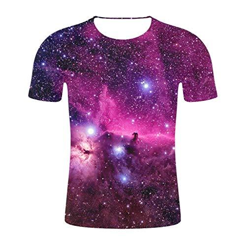 Tyoby Herren T-Shirt 3D Druckten Sommer-beiläufige Kurze Hülsen-T-Shirts T-Stücke Mode Schnitt Herrenbekleidung(Lila,XXL)